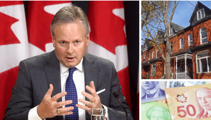 Bank of Canada governor announcing interest rate